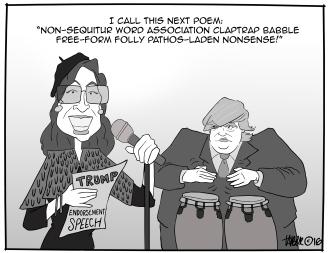 Palin Beat Poet - Sarah Palin endorses Trump in a garbled tirade of incoherent jargon and jingoism.