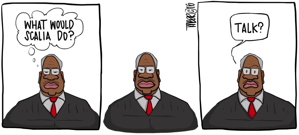 Thomas Speaks - With Scalia's death, perhaps Thomas will actually... speak?
